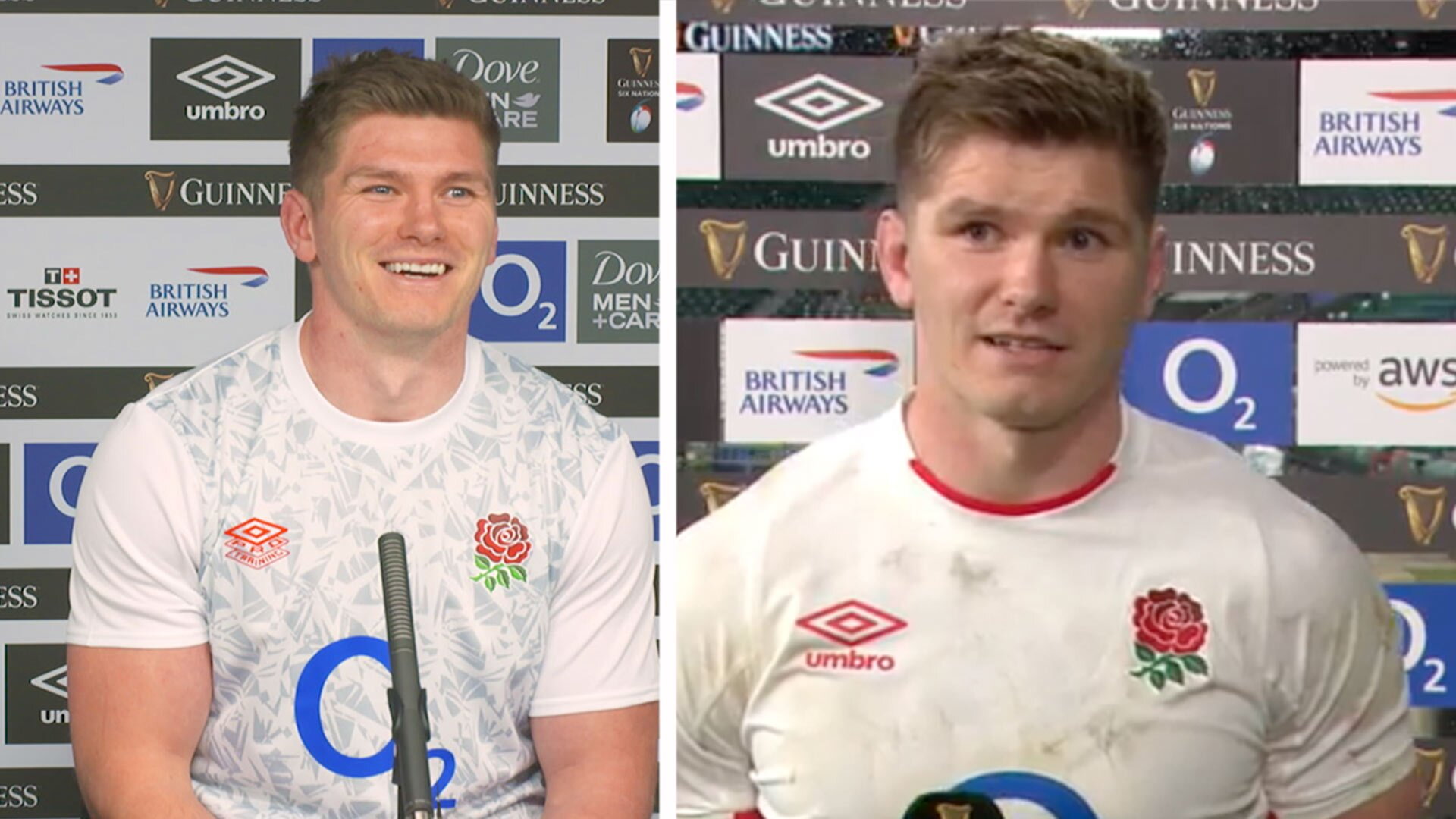 Owen Farrell looks genuinely happy in England's post match press conference