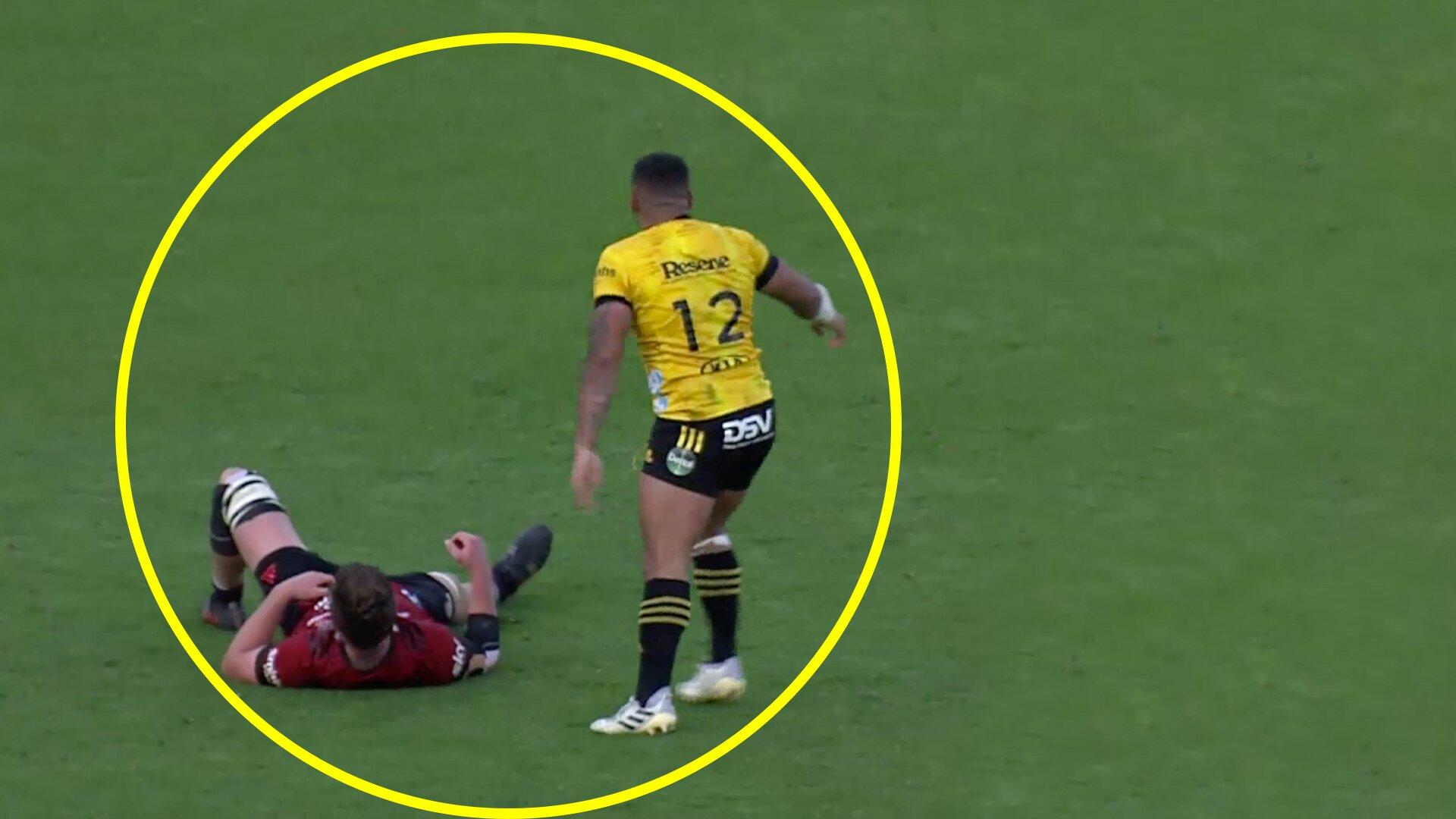Player cam footage of Ngani Laumape shows shocking grub hit on Scott Barrett