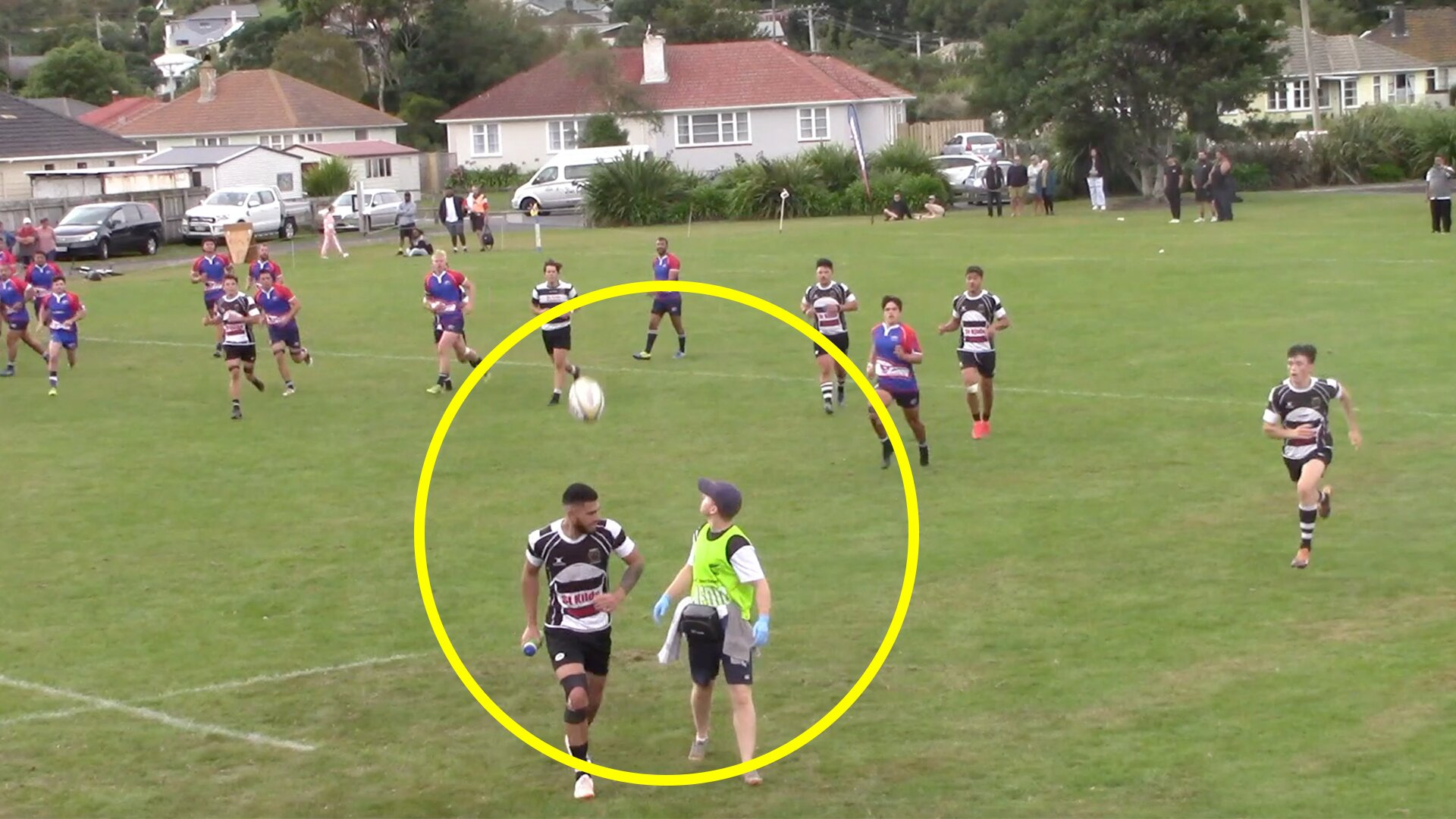 Fans amazed as one in a million rugby moment is captured on video