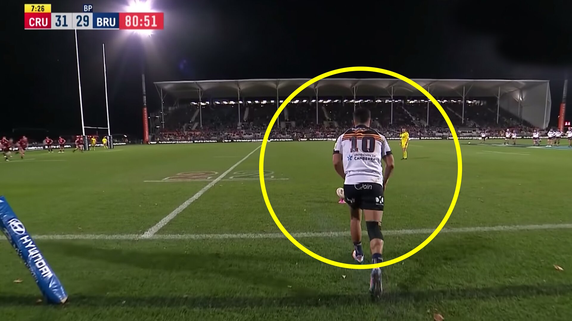 Fans stunned by the way players treated Brumbies kicker after he misses kick to draw game