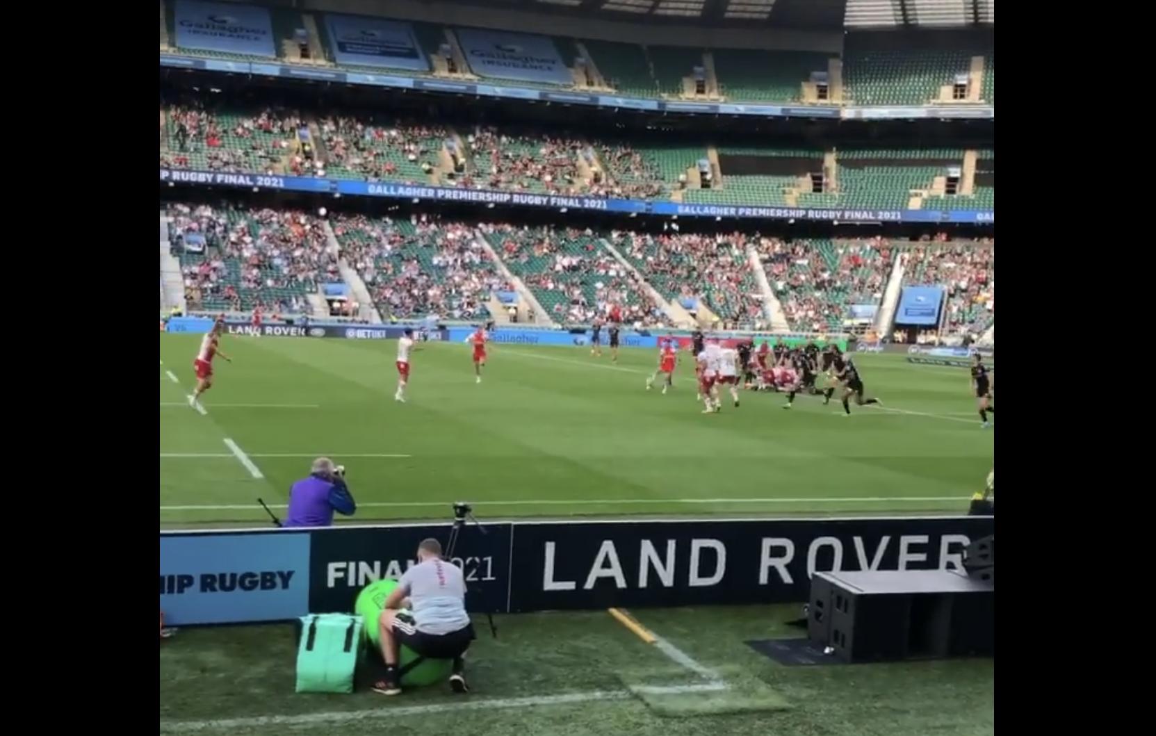 Wild scenes of Twickenham pitch invasion after Premiership win