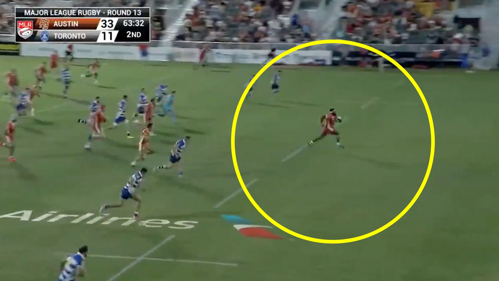 Prop in Major League Rugby amazes crowd with 60 metre power break from own half